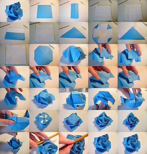 手工diy 纸玫瑰花制作最简单玫瑰花的折法教程