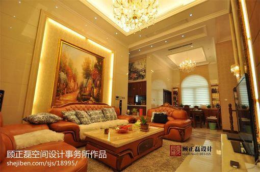 欧式风格客厅沙发手绘画背景墙效果图 图片_hao123