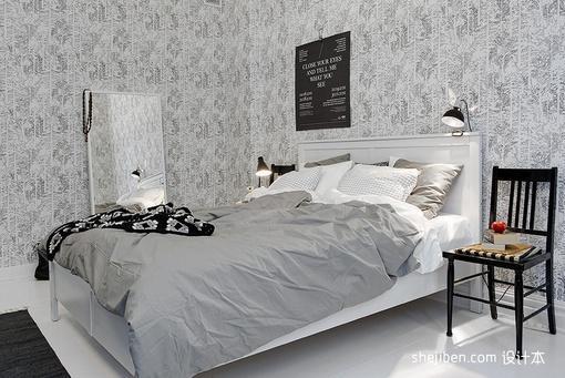 2013现代风格小户型灰色系次卧室灰白色壁纸装修效果