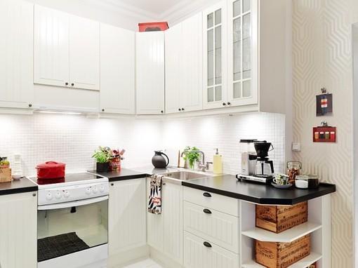 l型 黑白色 简约风格厨房装修 效果图 白色整体橱